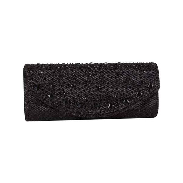 Women's J. Furmani 61405 Lily Clutch ($40) ❤ liked on Polyvore featuring bags, handbags, clutches, black, purses, hand bags, rhinestone handbags, chain purse, rhinestone handbags purses and rhinestone evening bag