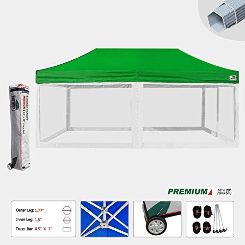 Eurmax 10x20 Feet Premium Pop Up Canopy Instant Shelter Commercial Grade Outdor Party Tent Gazebo With 4 Removable Zipper S Tent Camping Party Tent Hiking Tent