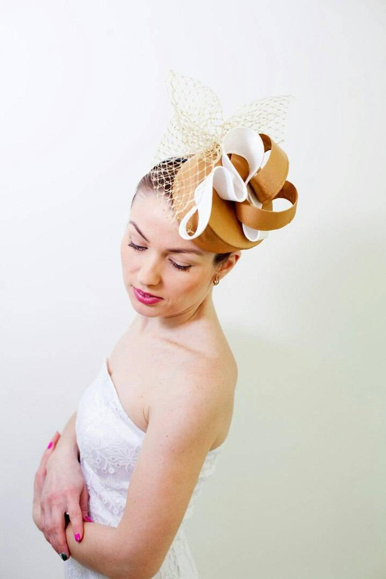 Fashion Modern Gold Fascinator Hat with Veil, Wedding Guest Hat, Royal Ascot Hat, Bride Mother Luxur #fascinatorstyles