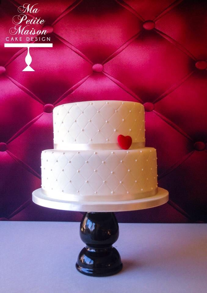 Two 2tier simple and elegant white fondant Valentines Day wedding