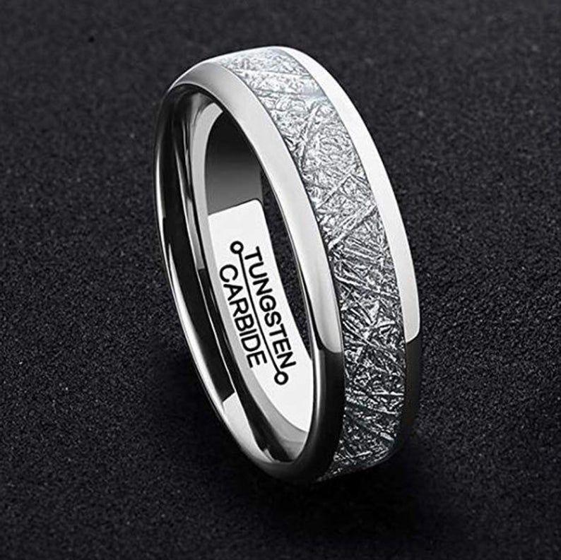 Reg 279.99 6mm Domed Tungsten & Meteorite Style Wedding