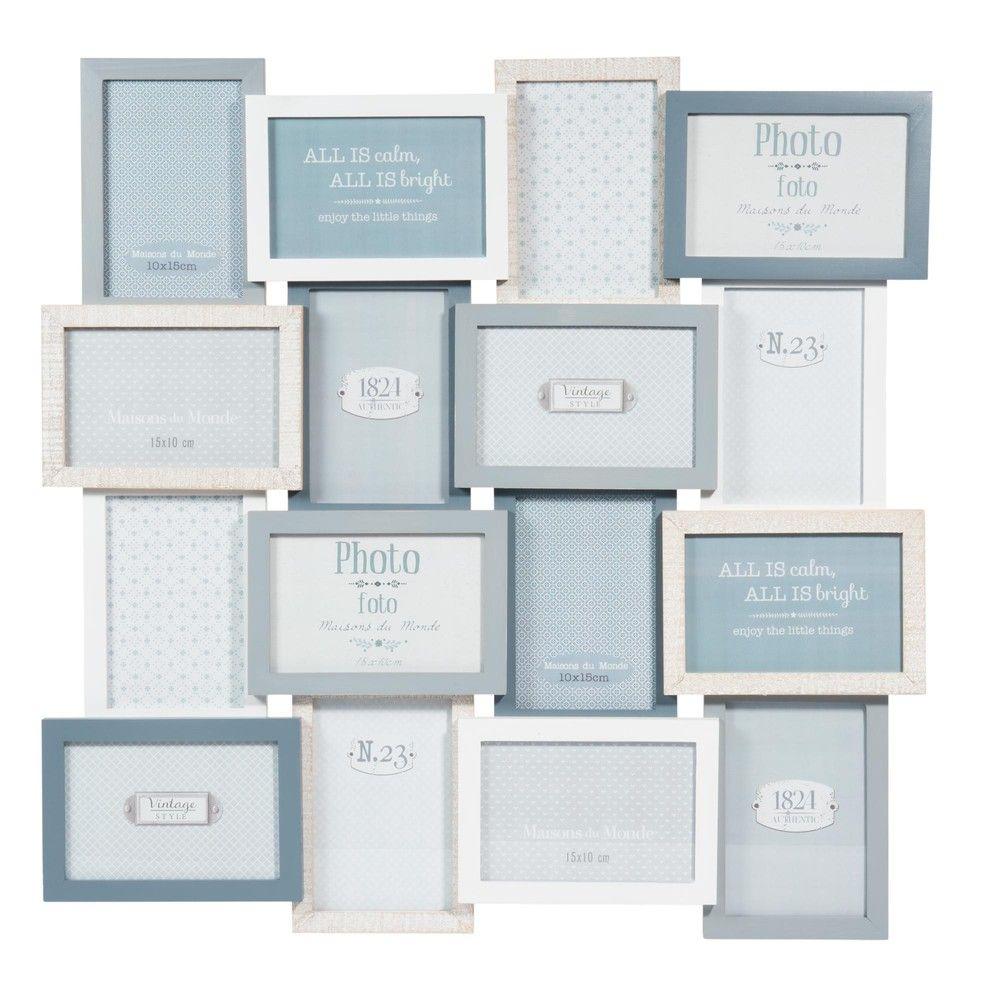 Marco para 16 fotos de madera azul 59 × 59 cm SNOW | Maisons du ...
