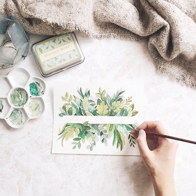 Flat Lay Photo Inspiration Green Watercolour Artist Winter
