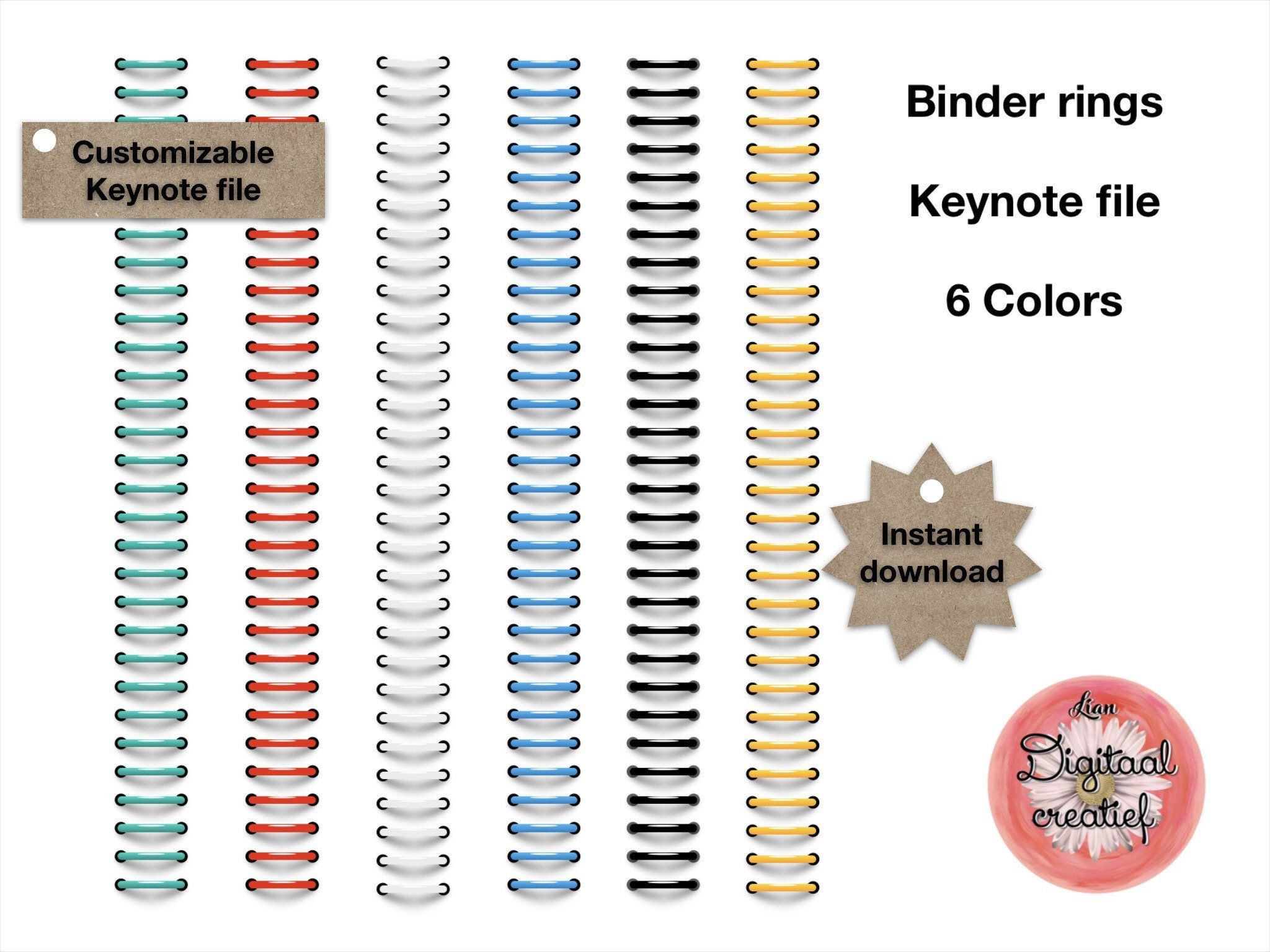 Digital binder rings 6 colors for digital planner or bulletjournal
