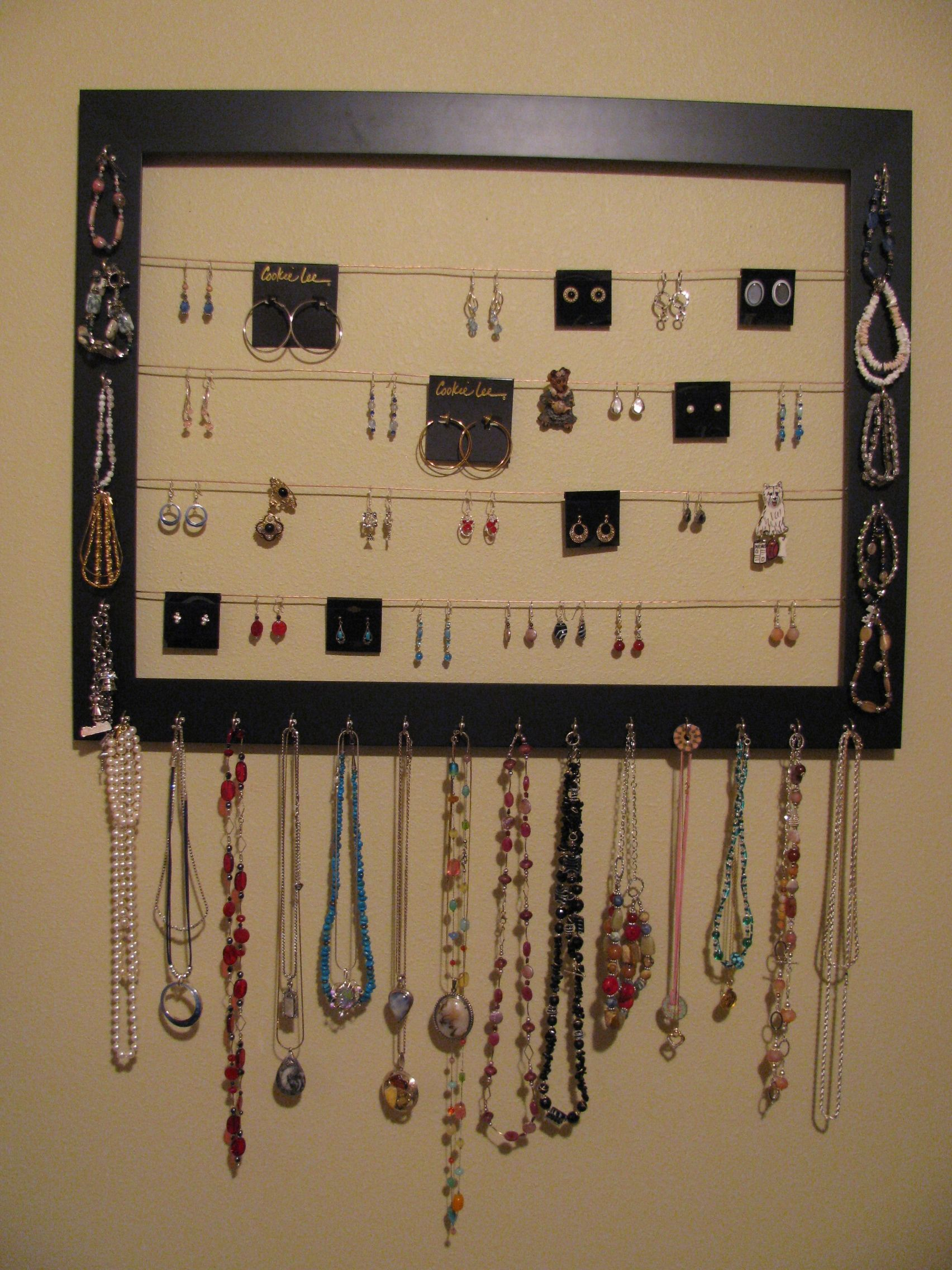 Jewelry Hangerorganizer  Picture Frame, Cup Hooks And Picture Hanging