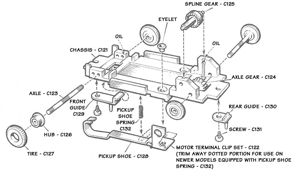 atlas standard slot car chassis exploded schematic jpg  940 u00d7550