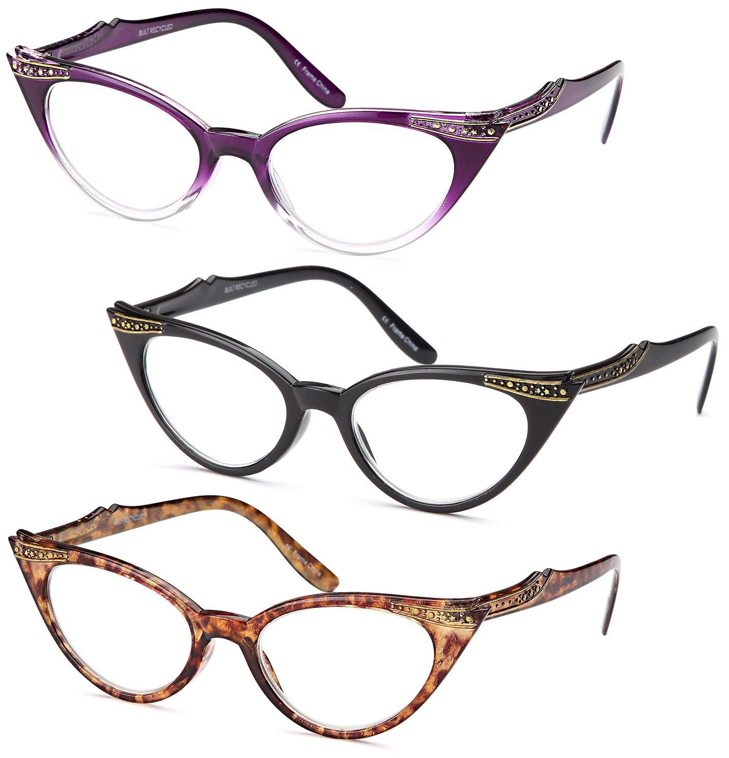 07b1abca827 GAMMA RAY READERS 3 Pairs Ladies  Vintage Cat Eye Readers Quality Reading  Glasses for Women - With +2.00 Magnification