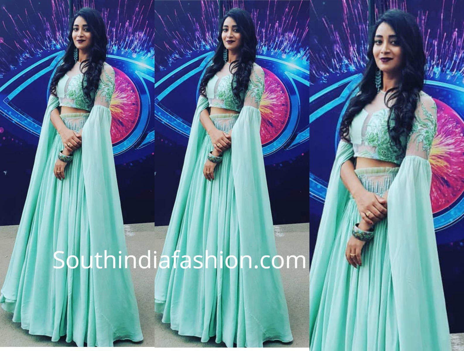 4de885c9204e79 bhanu sri long skirt crop top bigg boss telugu finale Indian Fashion  Designers