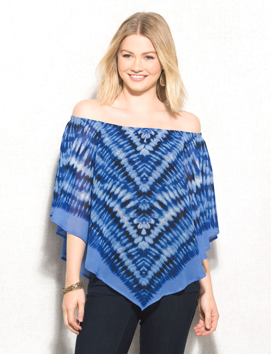 If you're heading out with the girls, then this is the poncho you need to wear! Pair with your darkish wash denim, a bold lip and a few dazzling bangles for a show-stopping look you and your friends will love.  #tops #offtheshoulder #blouse #top #dressbarn
