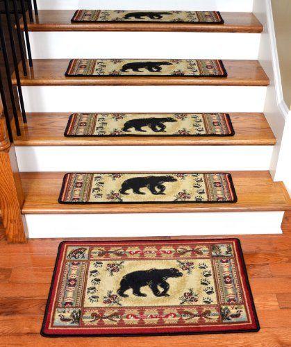 Best Dean Premium Carpet Stair Tread Rugs Black And Red Bear 400 x 300