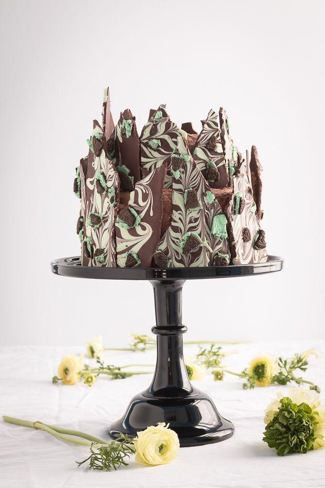 irish creme chocOlate layer cake with chocolate ming oreo bark