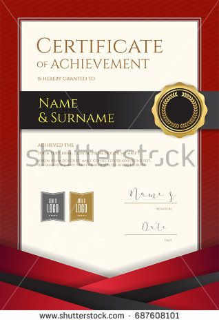 Portrait Luxury Certificate Template With Elegant Red Border Frame