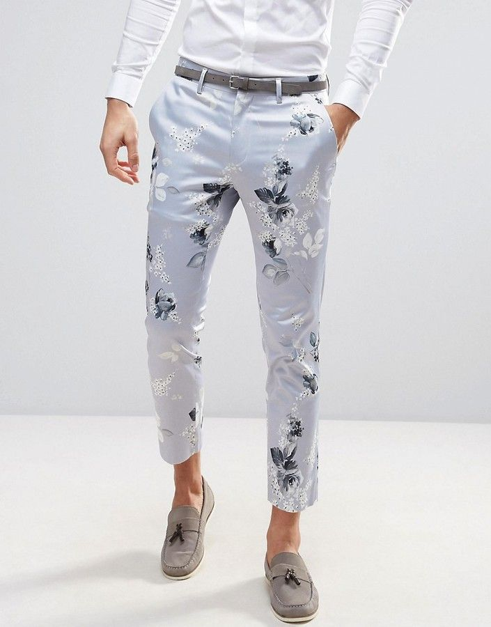Asos Wedding Skinny Cropped Smart Pants In Blue Floral