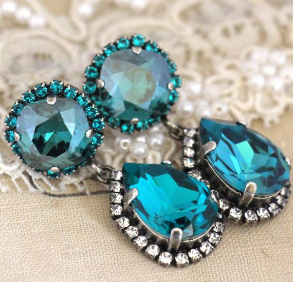 Blue teal chandelier bridal chandelier swarovski chandelier blue teal chandelier bridal chandelier swarovski chandelier earrings statement earrings wedding jewelry mozeypictures Images