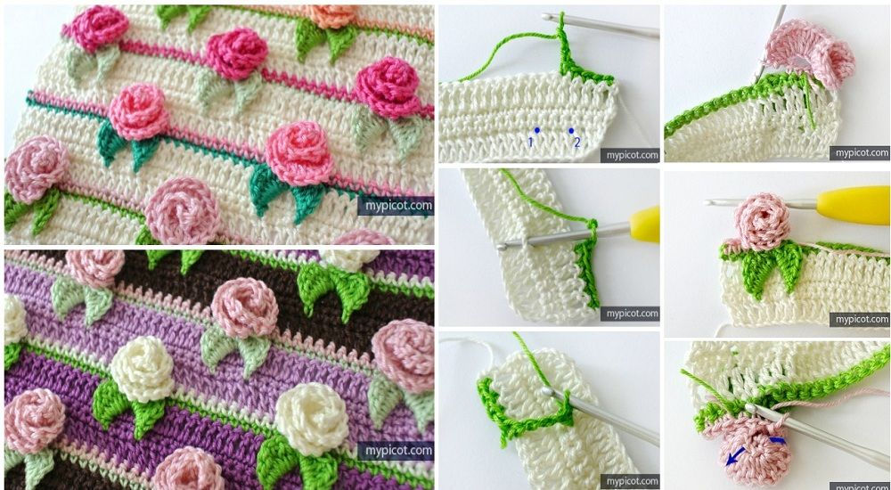 capullo de rosa de la puntada | Tejido | Pinterest | Puntadas ...