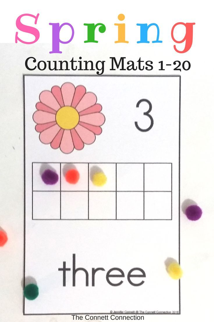 Spring Counting Mats 1-20 with Spring Flowers