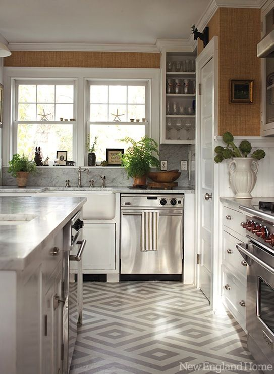 New England Home: Gorgeous Kitchen Featuring Ralph Lauren Homeu0027s Sudan  Weave Wallpaper. This U
