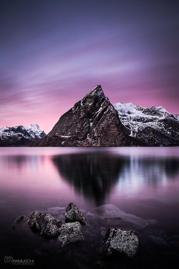 ~~Dark Olstind ~ violet skies reflected in glass-like water, Lofoten, Norway by Max Ramuschi~~