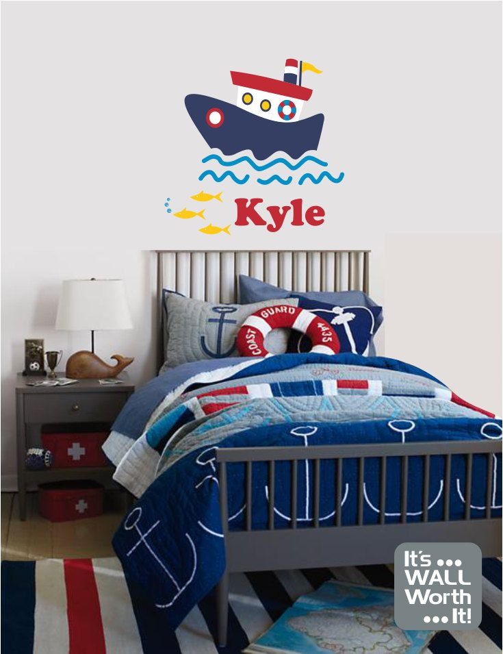 Nautical Boat with Custom Name Wall Decal - Nursery or Children\'s ...