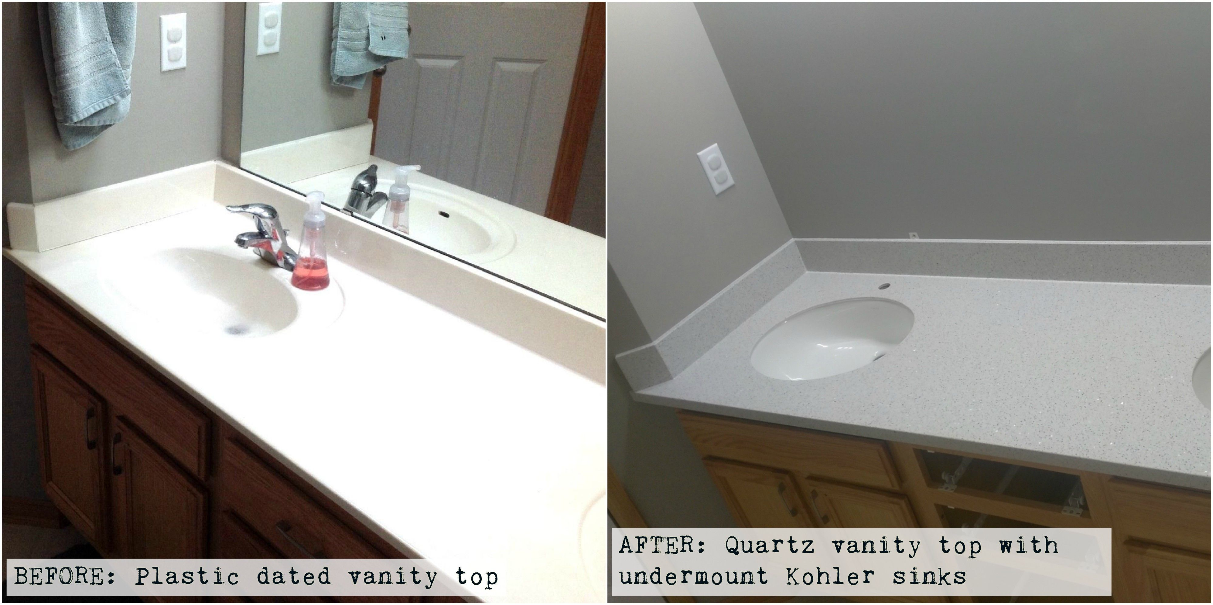 Take Out That Old Stained Cracked Plastic Vanity And Replace With A Maintenance Free Quartz Vanit Engineered Stone Countertops Kohler Sink Quartz Vanity Tops