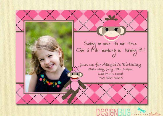 sock monkey party birthday girl