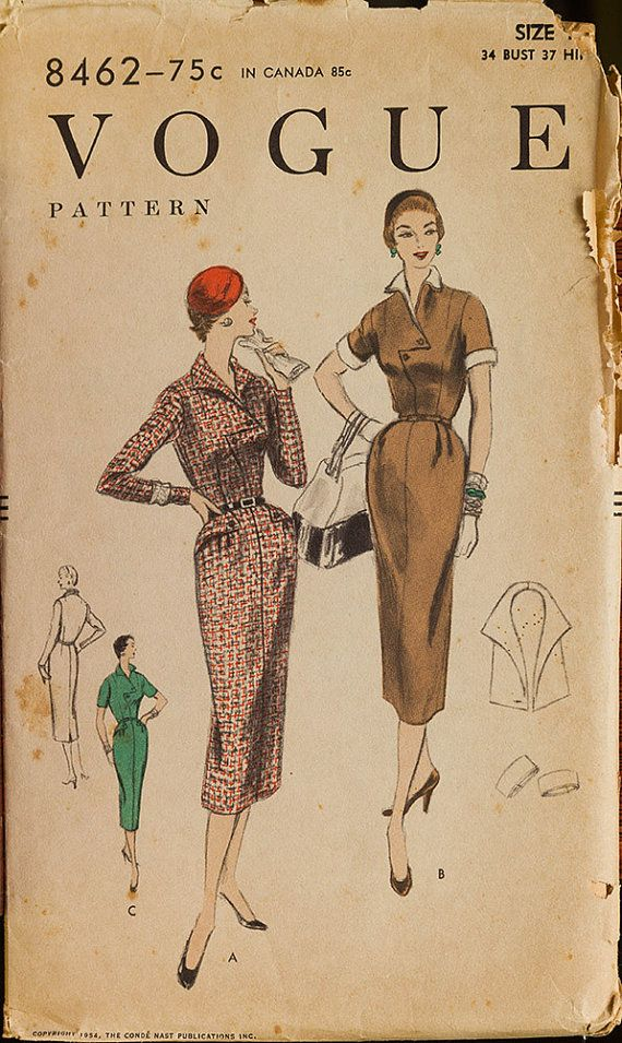 Vintage Vogue 8462 Sewing Pattern Misses One piece by knightcloth, $11.95 Notice the front bodice peplum detail. Very VOGUE!