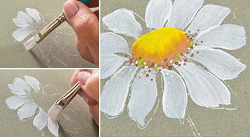 Comment peindre une marguerite  deco tableaux  Pinterest  ~ Peindre Sur Bois