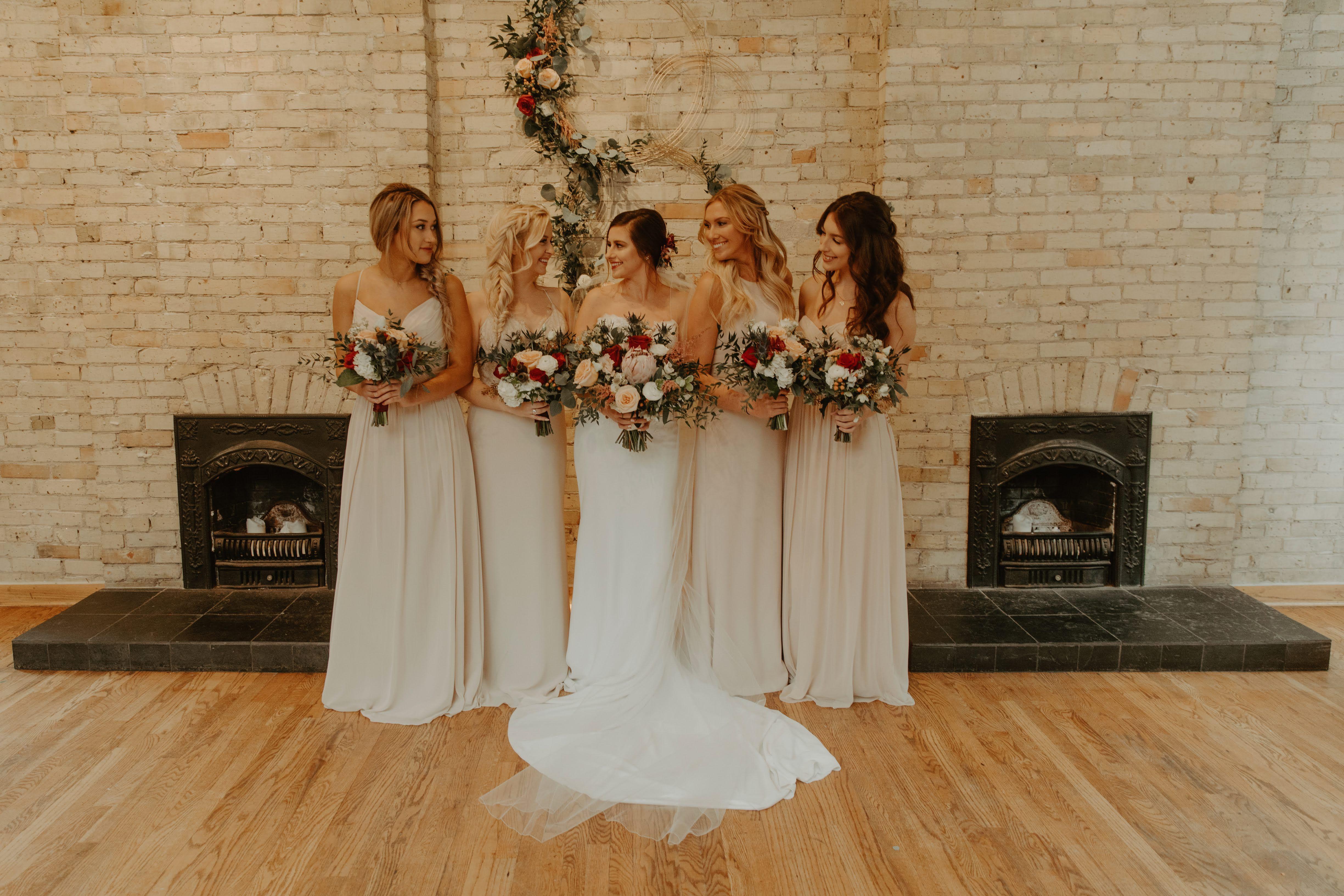 Downtown Milwaukee Wisconsin Wedding At Onesto Rustic Bridesmaid Dresses Brides Bridesmaids Neutral Bridesmaid Dresses