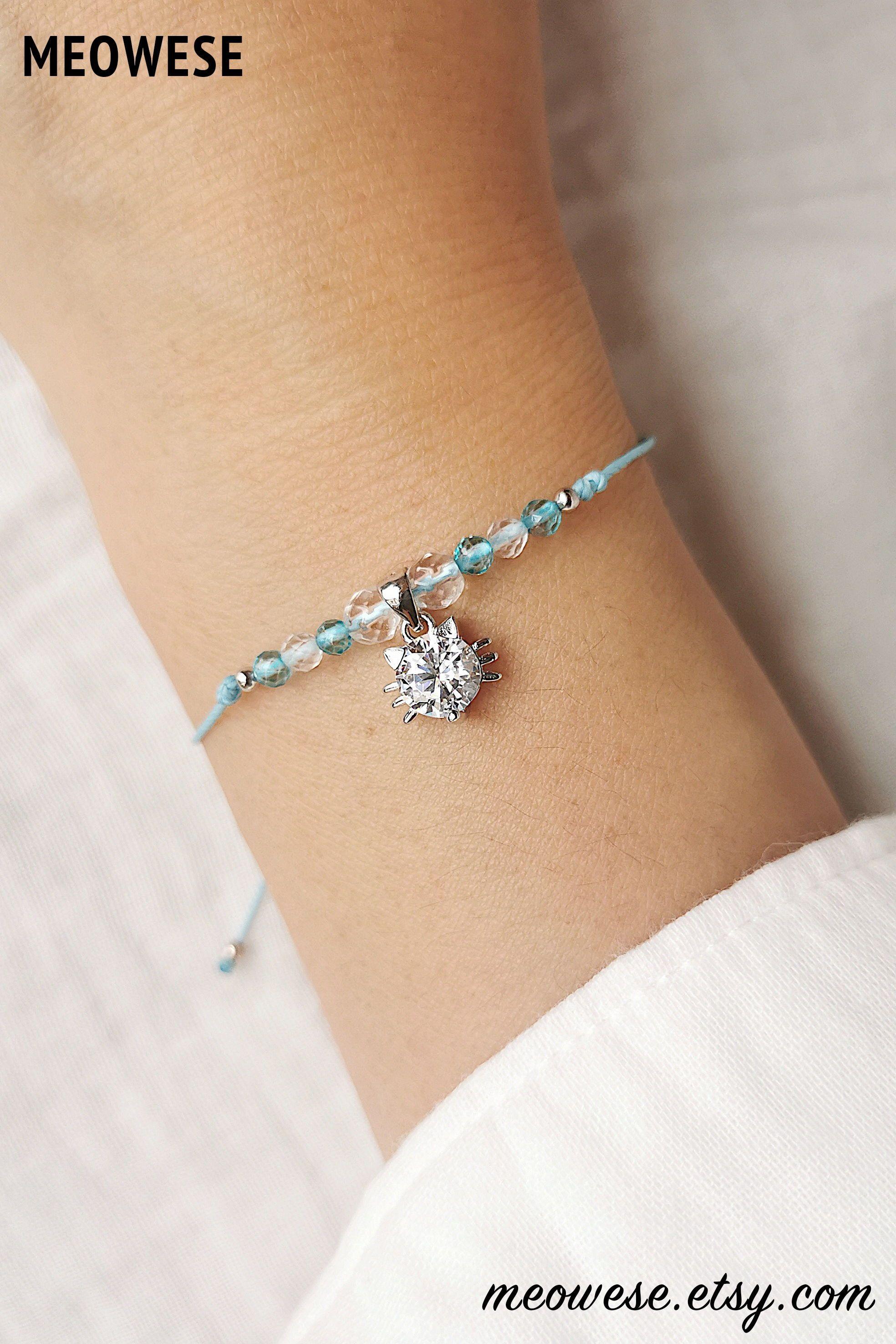 minimalist bracelet Pink Topaz Bracelet Pink gemstone jewelry Gift for her Beaded Gemstone Bracelet Dainty Sterling Silver Heart