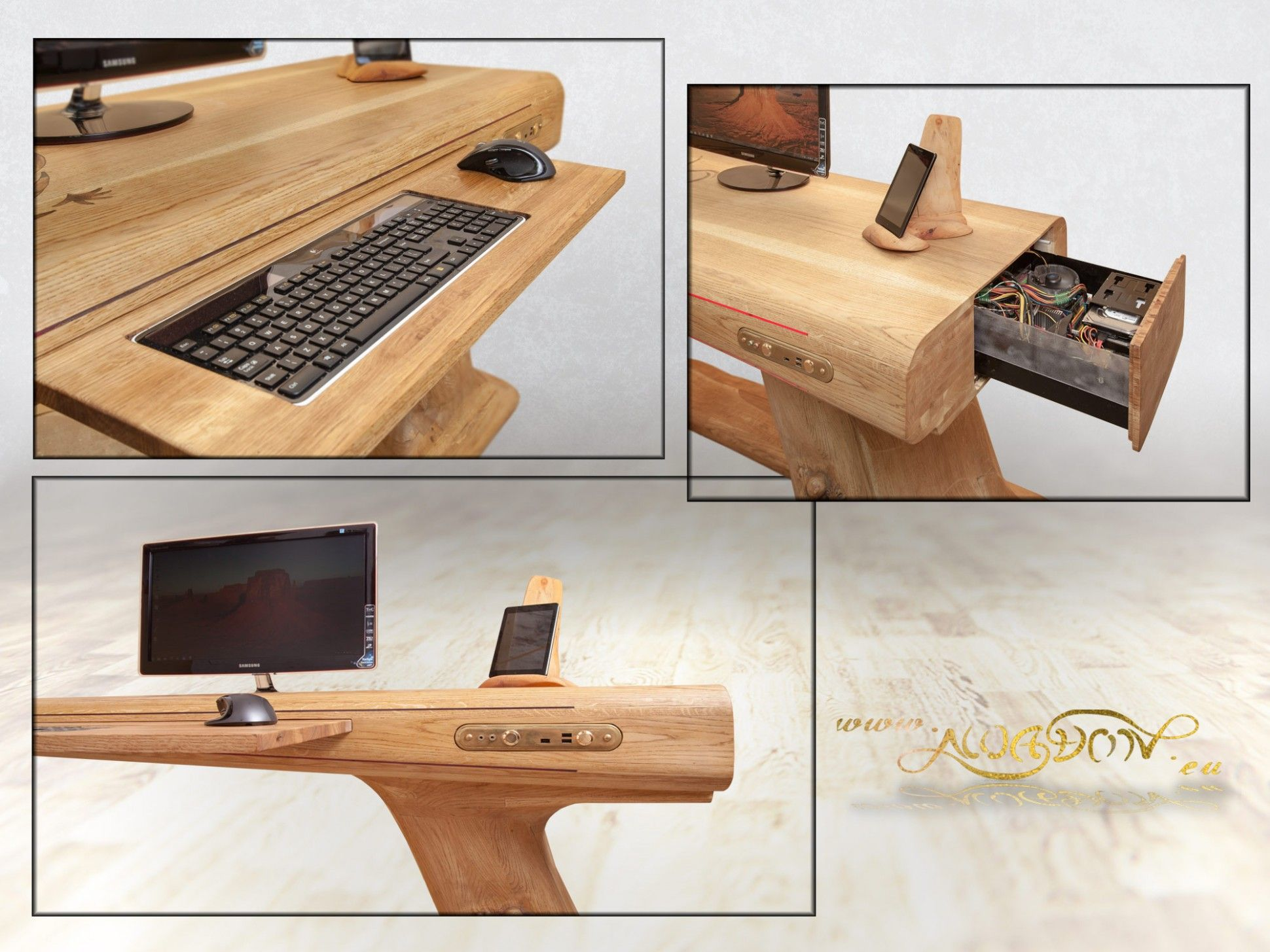 This Pc Desk Is Made From Oak Wood Planks For