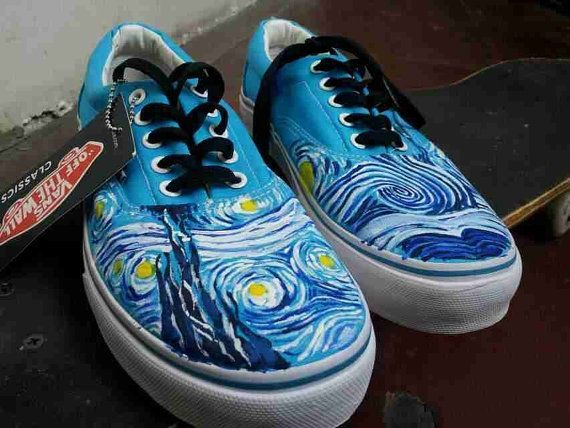 VincentVanGogh Vincent Van Gogh vans shoes Starry Night Hand Painted Vans  Shoes 5e4debf75