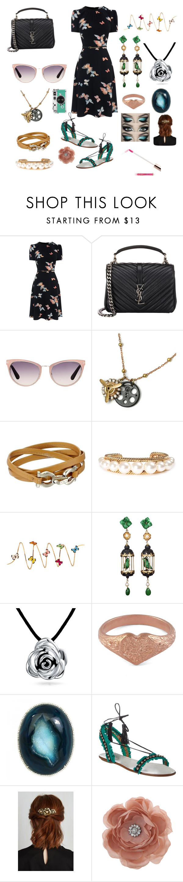 """"""""""" by karabear3256 ❤ liked on Polyvore featuring Yves Saint Laurent, Tom Ford, Sweet Romance, Salvatore Ferragamo, Marc Jacobs, Christina Debs, Of Rare Origin, Bling Jewelry, Alex Monroe and Aquazzura"""