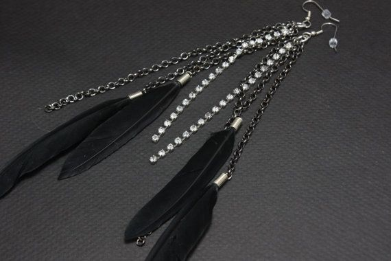Black Feather Earrings w/ Rhinestones and Chaining 8.5 inches long