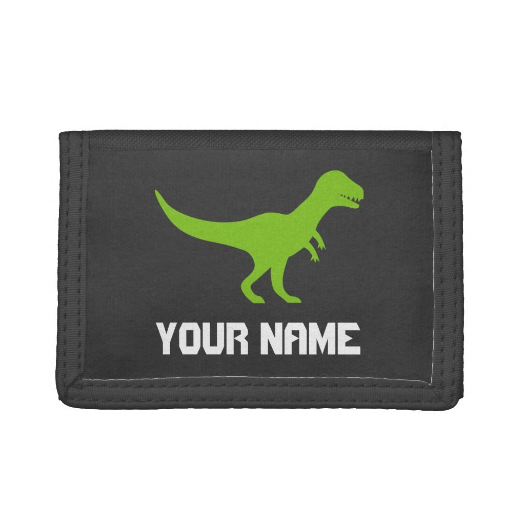 Kid's wallet with t-rex jurassic tyrannosaurus rex, Men's, Size: TriFold Nylon Wallet, Black #tyrannosaurusrex