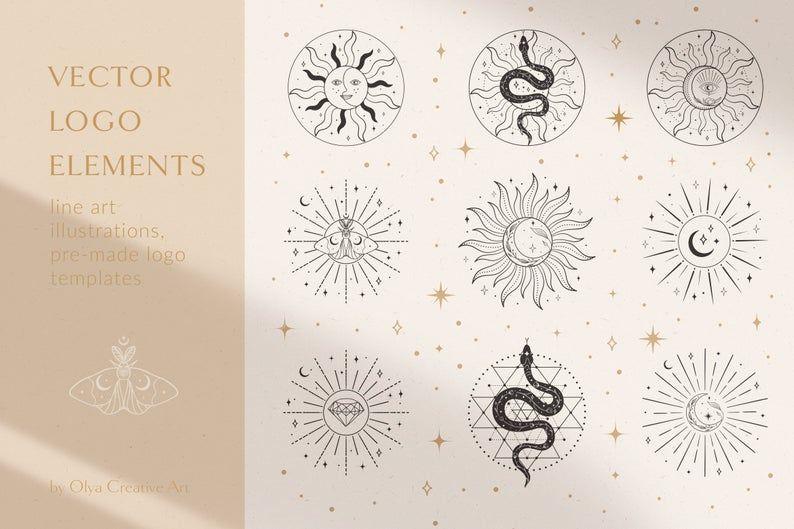 Sun Moon Logo Elements Vector illustrations. Social Media | Etsy