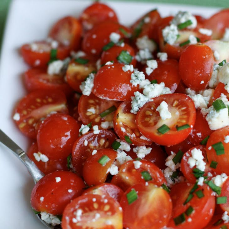 Cherry Tomato and Blue Cheese Salad Recipe Salads with cherry tomatoes, crumbled blue cheese, fresh chives, olive oil, coarse salt