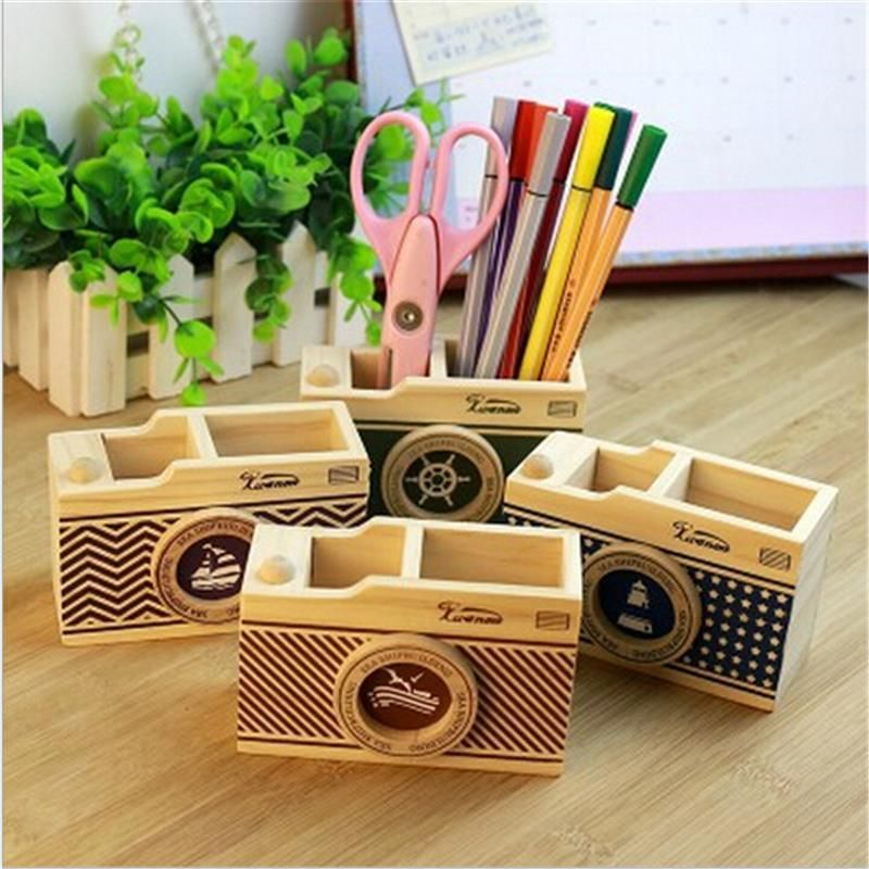 Wooden Camera Pen Holder Wooden Camera Pen