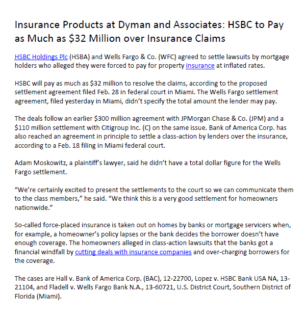 Hsbc To Pay As Much As 32 Million Over Insurance Claims Dyman
