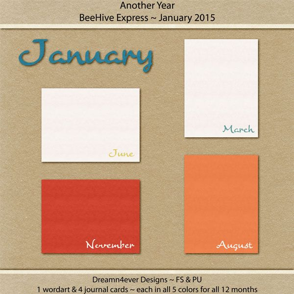 FREE Dreamn4ever Designs: Blog Trains (1 Word art & 4 Journal Cards - each in all 5 colors for all 12 months )