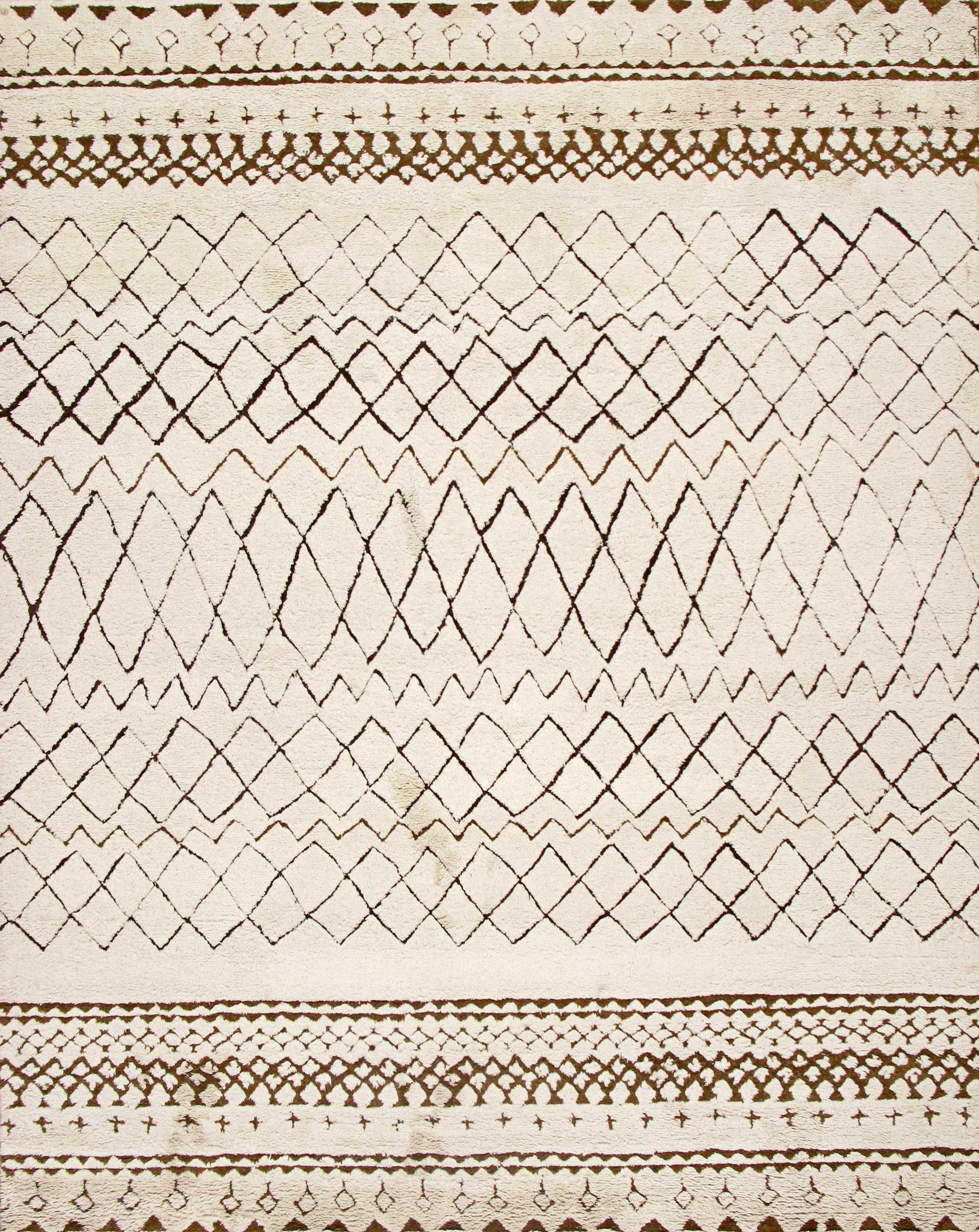 rugsville moroccan beni ourain ivory wool rug 12017 | new arrivals