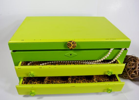 Large jewelry box with leopard print lining jewelry holder jewelry