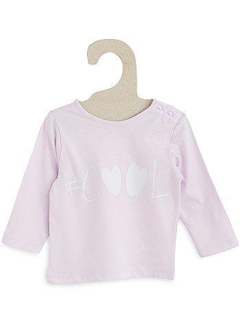 3c6f343dd Camiseta estampada de puro algodón rosa pálido Bebé niña