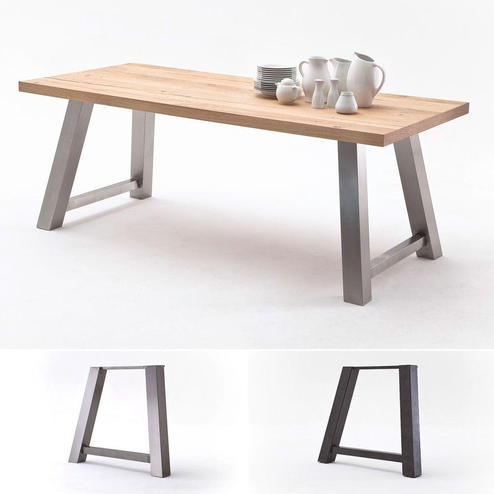 Details zu Tisch 1 Alvaro Esstisch in Eiche natur massiv Edelstahl ...