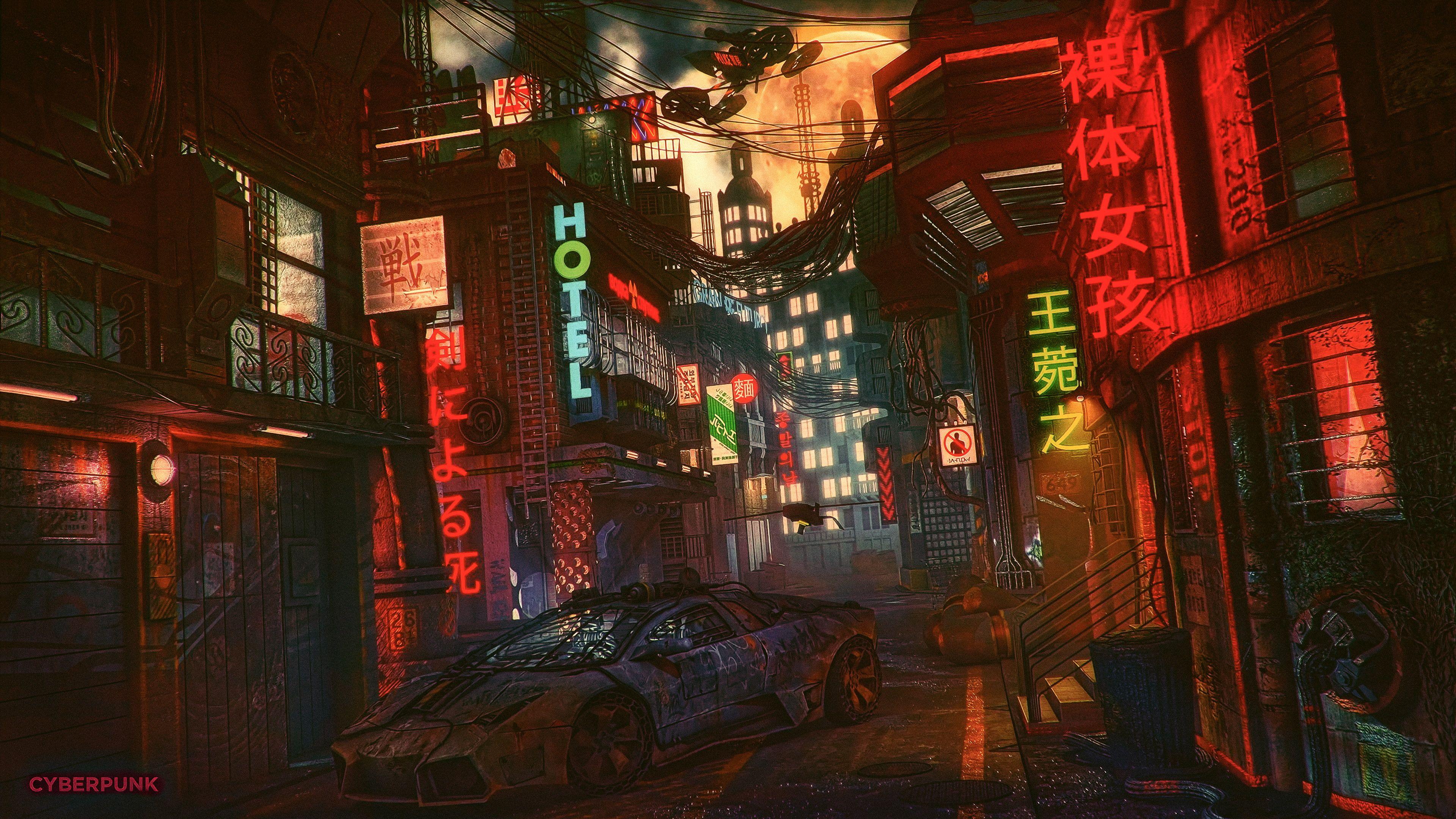 Night Artwork Futuristic City Cyberpunk Cyber Science Fiction Digital Art Concept Art Futuristic Fan Art Cgi 4k In 2020 Futuristic City Cyberpunk City Cyberpunk