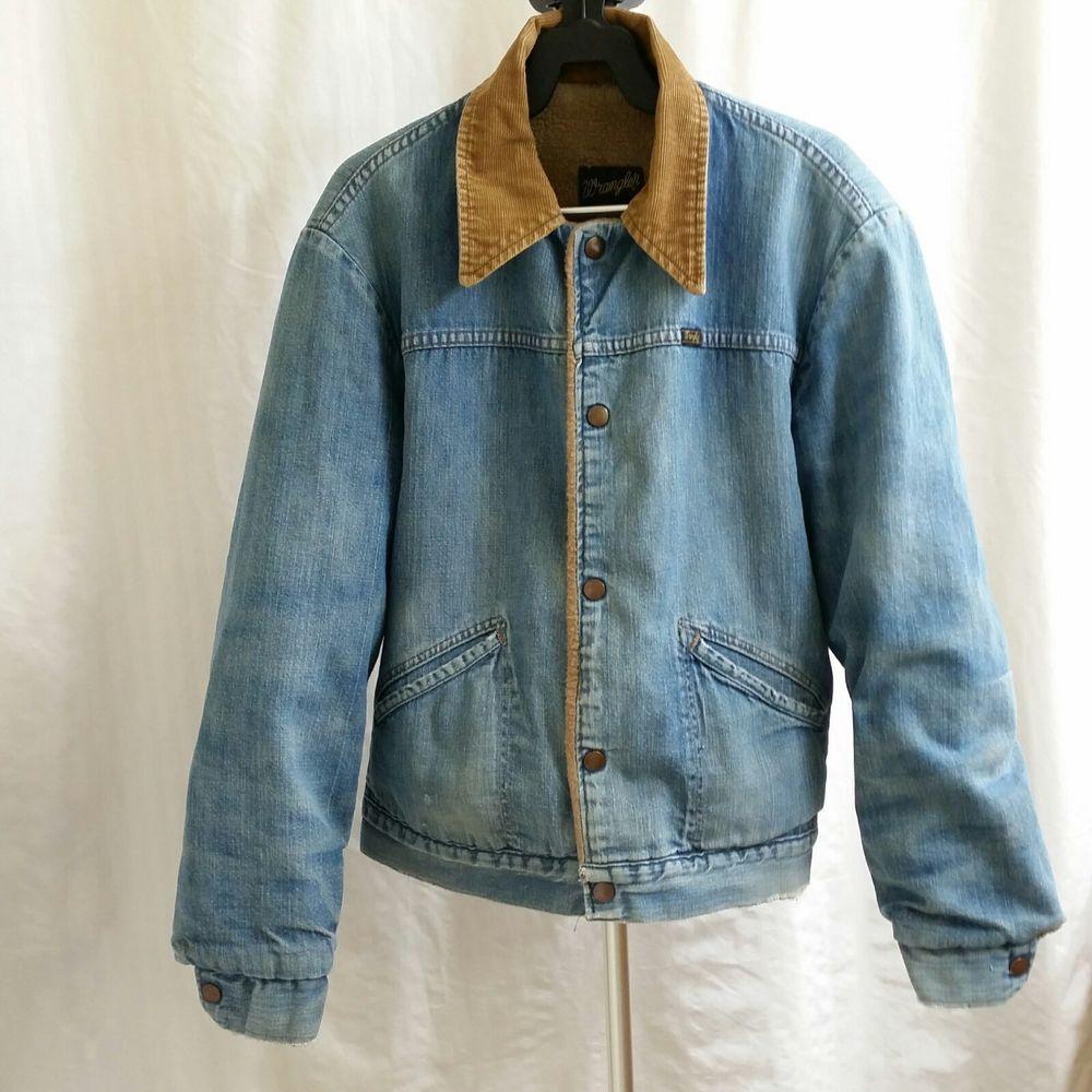Vtg Wrangler Trucker Jacket Denim Corduroy Collar Sherpa Lining Distressed Trucker Jacket Menswear Denim Jacket