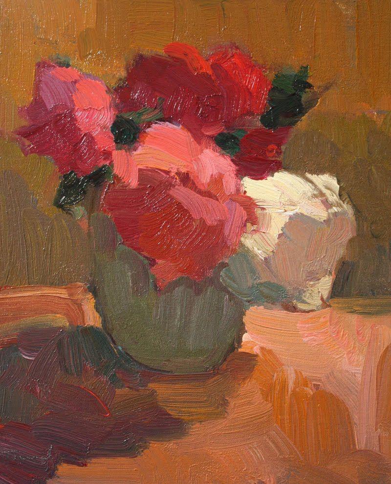 Flowers in Green Vase | Kathryn Townsend Painting Studio View