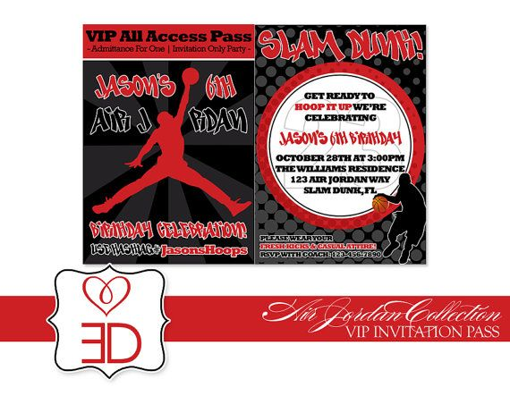 Air Jordan Inspired Collection Invitation idea fo basketball party – Michael Jordan Birthday Invitations