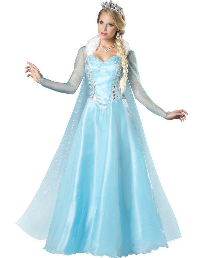 Fast Princess Elsa Costume Dress Snow Queen Deluxe Disney Frozen XS S M L