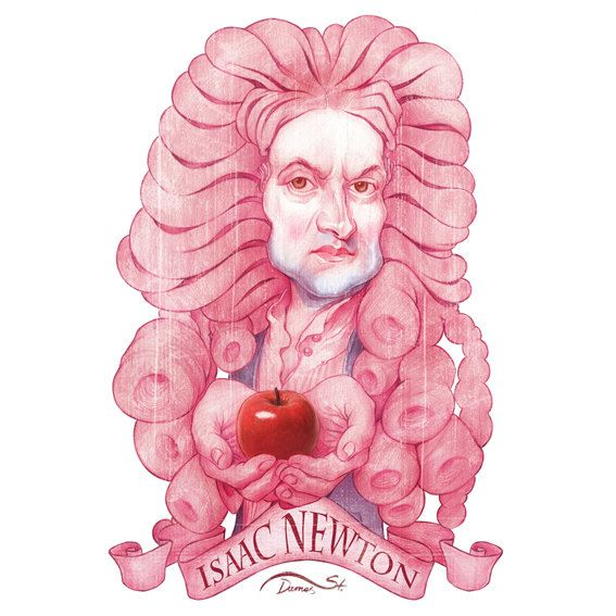 Isaac Newton S Illustration With A Caricature Style Desenho