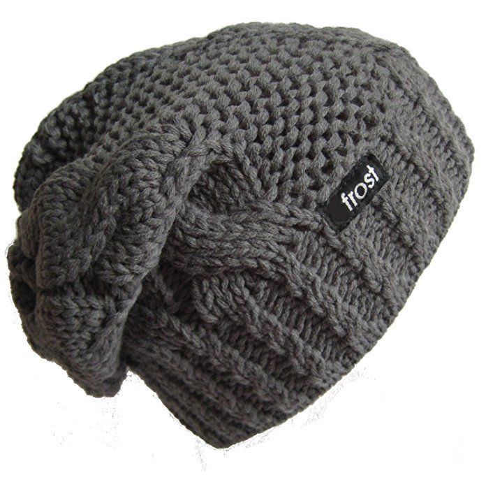 Frost Hats Winter Hat for Women CHARCOAL Slouchy Beanie Hat Knitted Winter  Hat Frost Hats (Charcoal) 96a7dd51d12